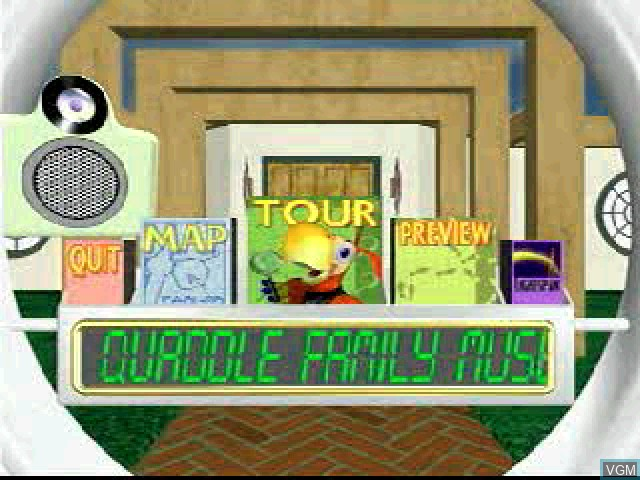 Title screen of the game Quaddle Family Mysteries, The 3 - The Case of the Scarce Scarab - Parlor - Family Room on Sony Playstation