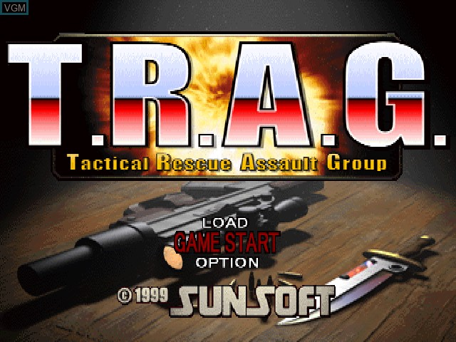 Title screen of the game T.R.A.G. - Mission of Mercy on Sony Playstation