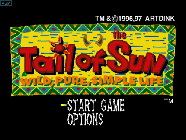 Title screen of the game Tail of the Sun on Sony Playstation