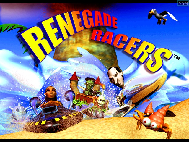Title screen of the game Renegade Racers on Sony Playstation