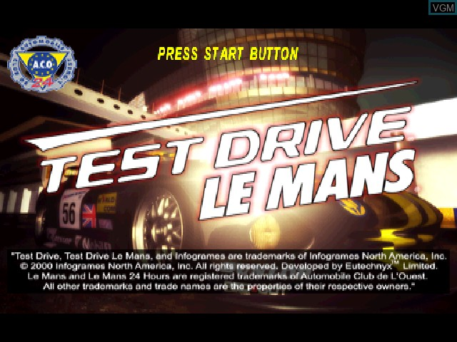 Title screen of the game Test Drive Le Mans on Sony Playstation