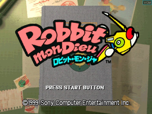 Title screen of the game Robbit mon Dieu on Sony Playstation