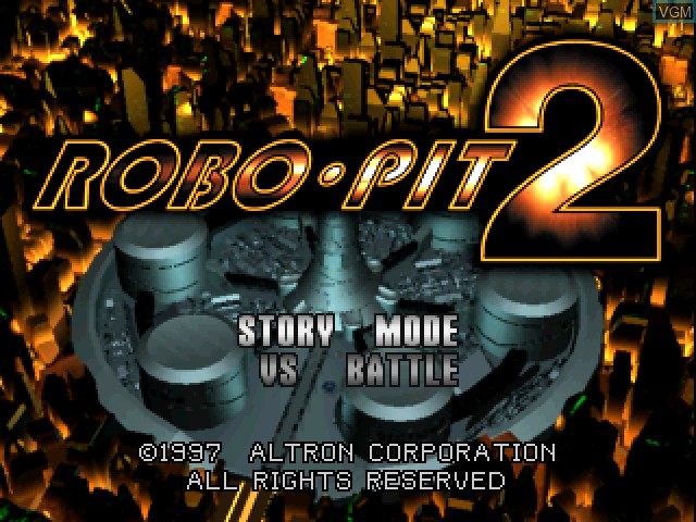 Title screen of the game Robo Pit 2 on Sony Playstation