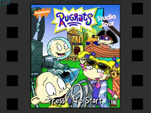 Title screen of the game Nickelodeon Rugrats - Studio Tour on Sony Playstation