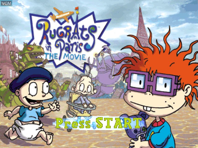 Title screen of the game Nickelodeon Rugrats in Paris - The Movie on Sony Playstation