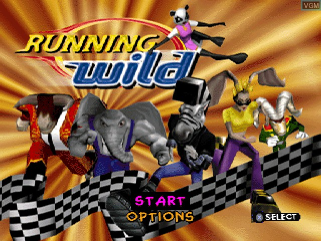 Title screen of the game Running Wild on Sony Playstation