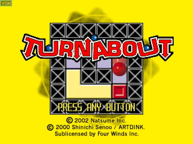 Title screen of the game Turnabout on Sony Playstation
