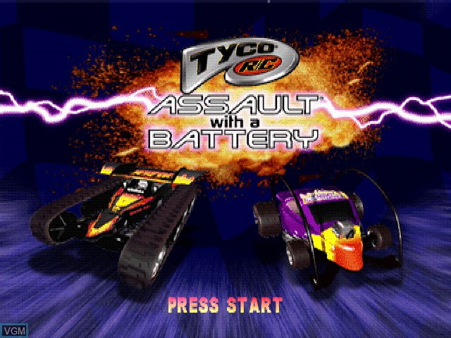 Title screen of the game Tyco R-C - Assault with a Battery on Sony Playstation