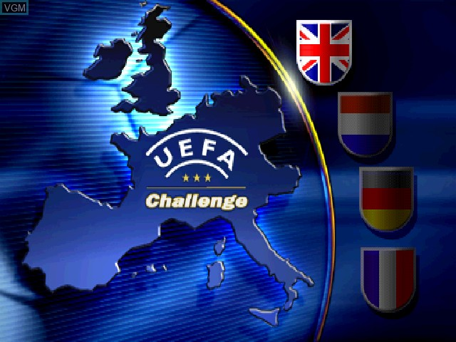 Title screen of the game UEFA Challenge on Sony Playstation
