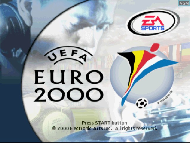 Title screen of the game UEFA Euro 2000 on Sony Playstation