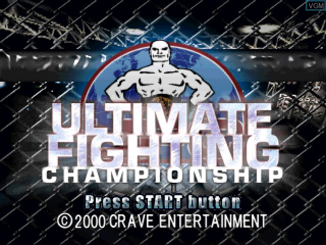 Title screen of the game Ultimate Fighting Championship on Sony Playstation