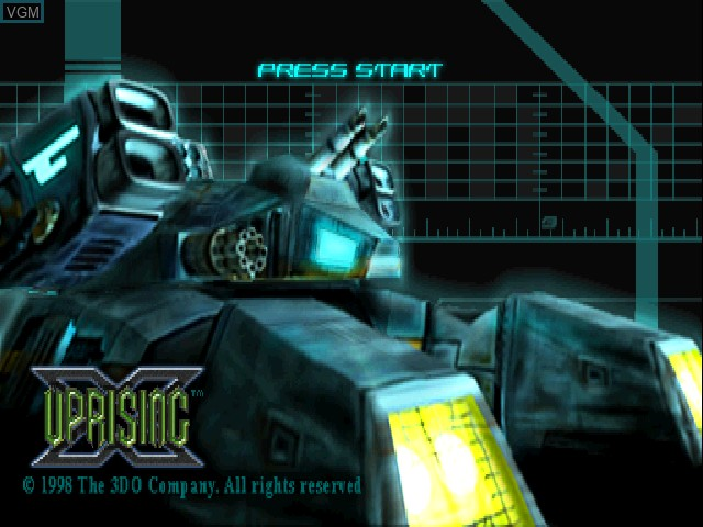Title screen of the game Uprising X on Sony Playstation