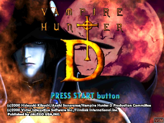 Title screen of the game Vampire Hunter D on Sony Playstation