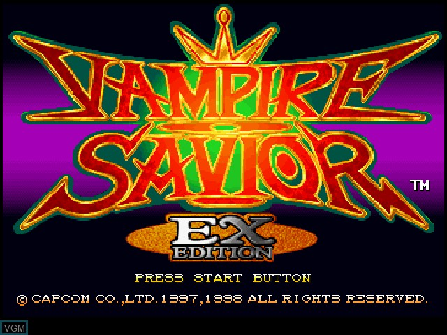 Title screen of the game Vampire Savior - EX Edition on Sony Playstation