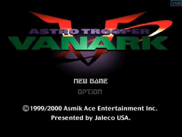 Title screen of the game Vanark on Sony Playstation