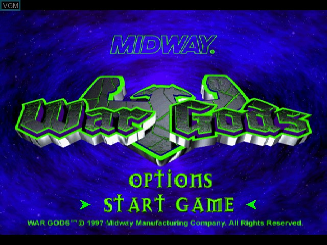 Title screen of the game War Gods on Sony Playstation