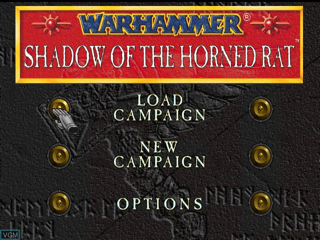 Title screen of the game Warhammer - Shadow of the Horned Rat on Sony Playstation