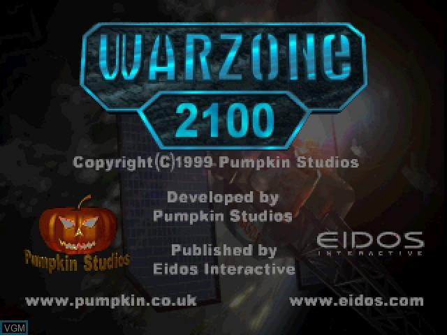 Title screen of the game Warzone 2100 on Sony Playstation