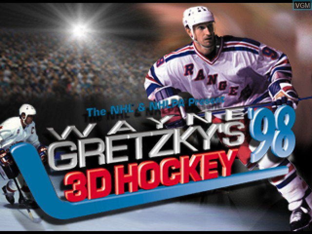 Title screen of the game Wayne Gretzky's 3D Hockey '98 on Sony Playstation