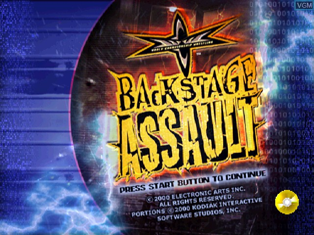 Title screen of the game WCW Backstage Assault on Sony Playstation