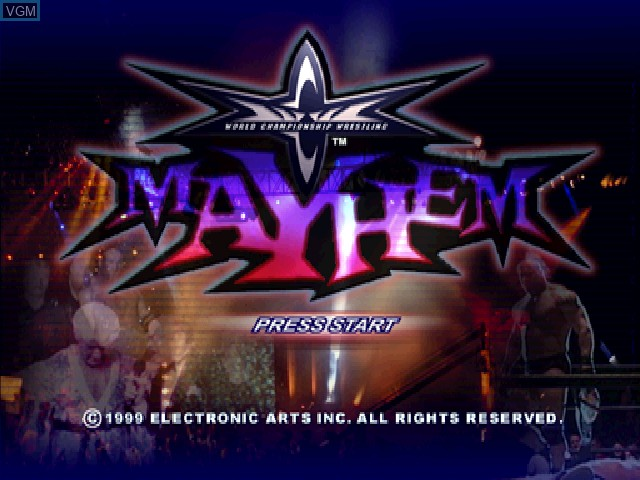 Title screen of the game WCW Mayhem on Sony Playstation