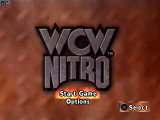 Title screen of the game WCW Nitro on Sony Playstation