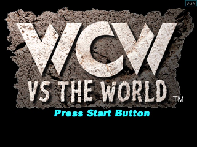 Title screen of the game WCW vs. The World on Sony Playstation