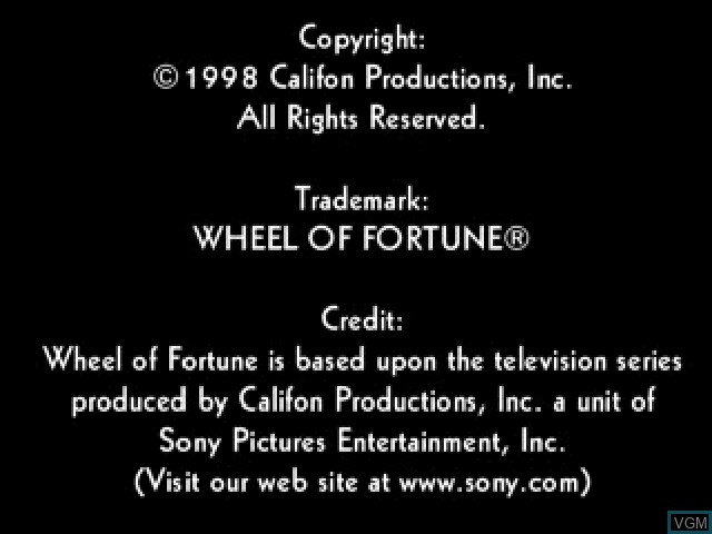 Title screen of the game Wheel of Fortune on Sony Playstation