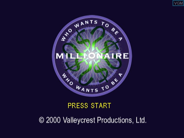 Title screen of the game Who Wants to Be a Millionaire - 2nd Edition on Sony Playstation