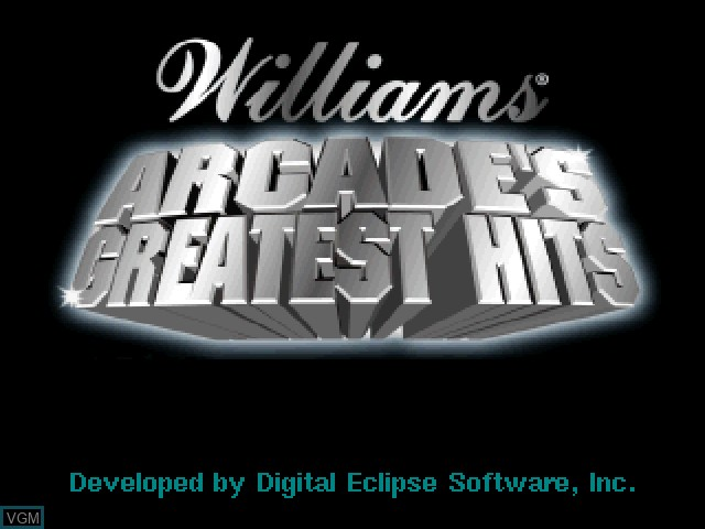 Title screen of the game Williams Arcade's Greatest Hits on Sony Playstation