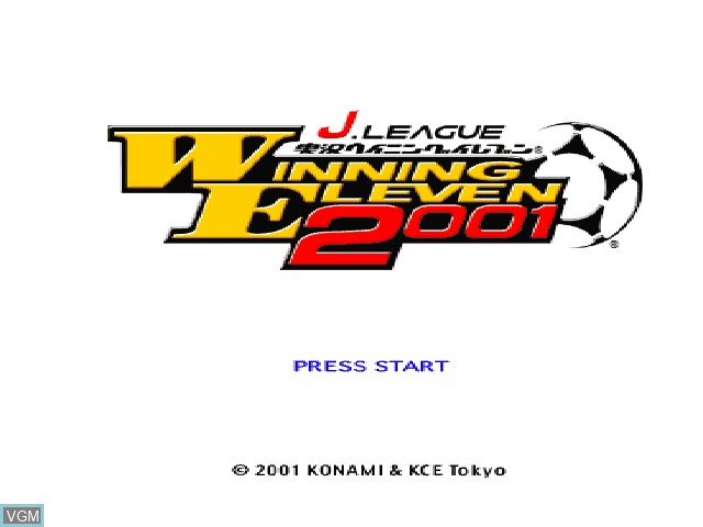 Title screen of the game J. League Jikkyou Winning Eleven 2001 on Sony Playstation