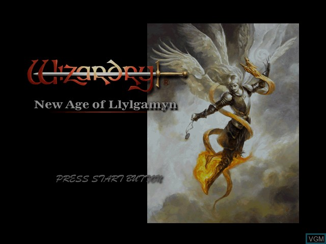 Title screen of the game Wizardry - New Age of Llylgamyn on Sony Playstation