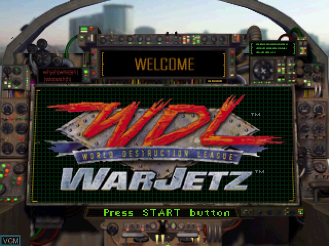 Title screen of the game World Destruction League - WarJetz on Sony Playstation