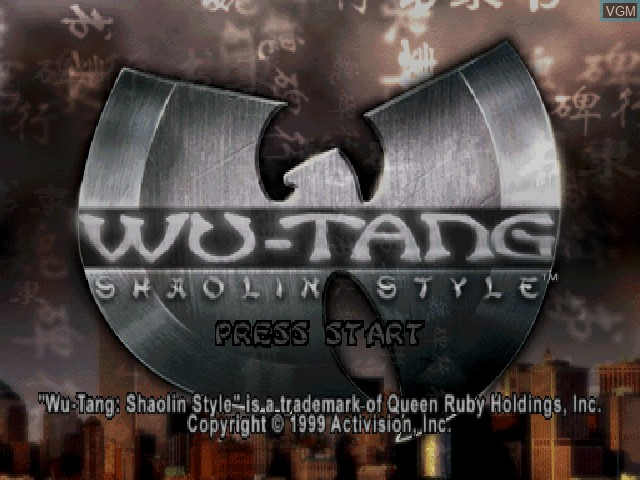 Title screen of the game Wu-Tang - Shaolin Style on Sony Playstation