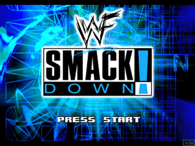 Title screen of the game WWF SmackDown! on Sony Playstation