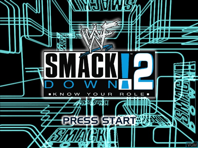 Title screen of the game WWF SmackDown! 2 - Know Your Role on Sony Playstation