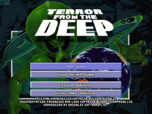 Title screen of the game X-COM - Terror from the Deep on Sony Playstation