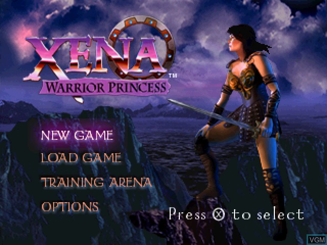 Title screen of the game Xena - Warrior Princess on Sony Playstation