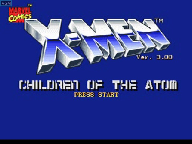 Title screen of the game X-Men - Children of the Atom on Sony Playstation