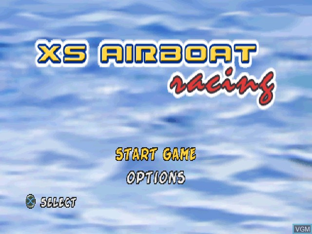 Title screen of the game XS Airboat Racing on Sony Playstation