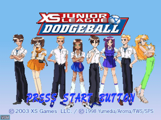 Title screen of the game XS Junior League Dodgeball on Sony Playstation