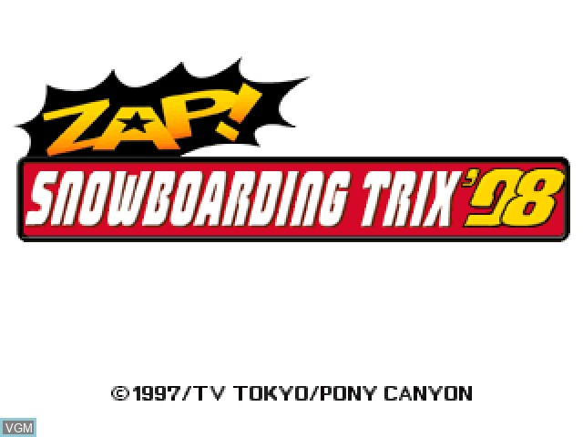 Title screen of the game Zap! Snowboarding Trix '98 on Sony Playstation