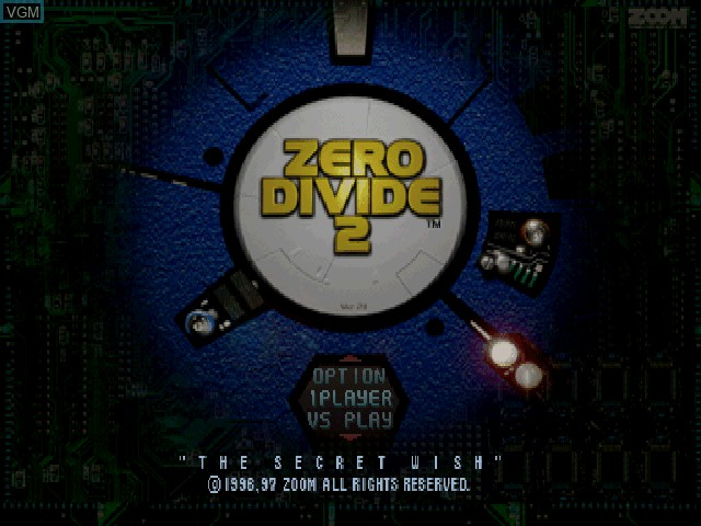 Title screen of the game Zero Divide 2 - The Secret Wish on Sony Playstation