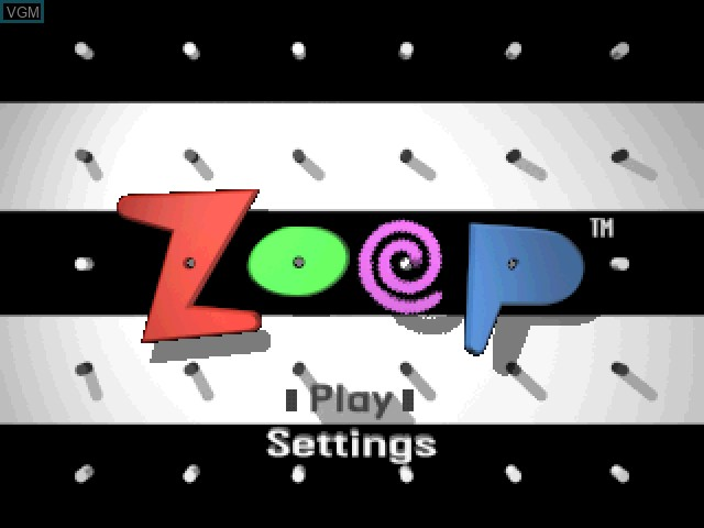 Title screen of the game Zoop - America's Largest Killer of Time! on Sony Playstation