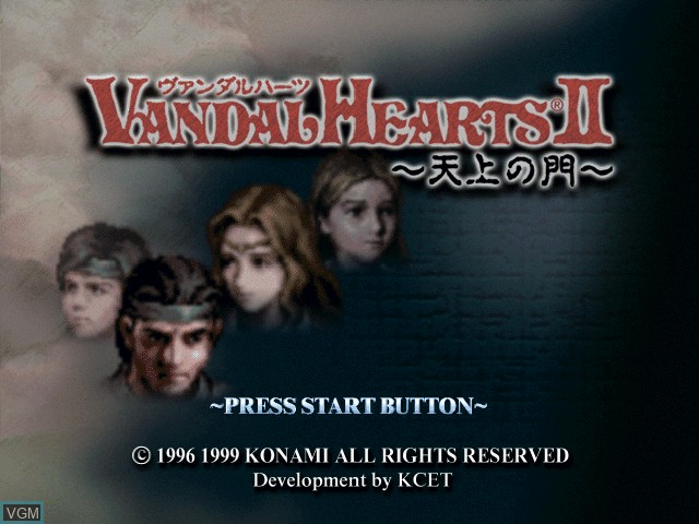 Title screen of the game Vandal Hearts II - Tenjou no Mon on Sony Playstation