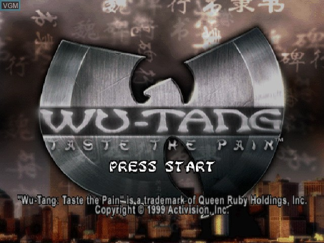 Title screen of the game Wu-Tang - Taste the Pain on Sony Playstation