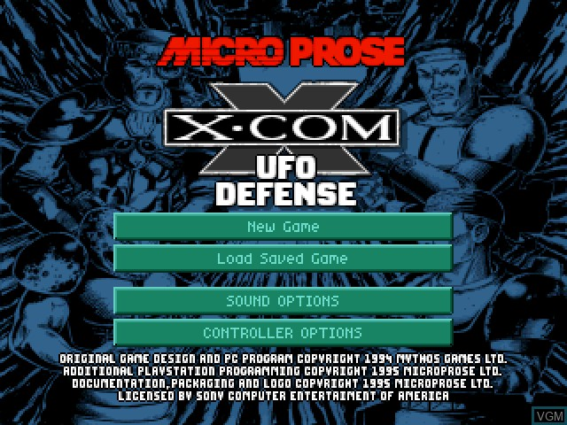 Title screen of the game X-COM - UFO Defense on Sony Playstation