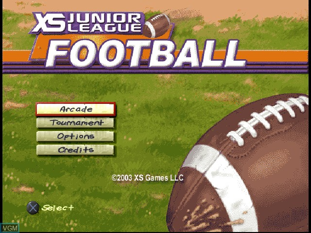 Title screen of the game XS Junior League Football on Sony Playstation
