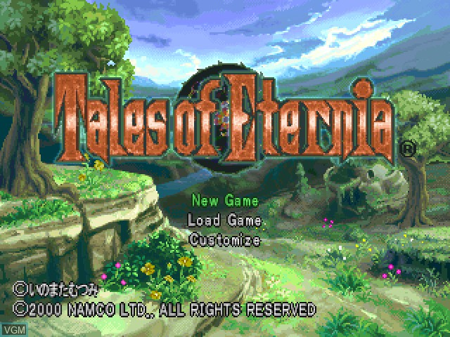 Title screen of the game Tales of Eternia on Sony Playstation