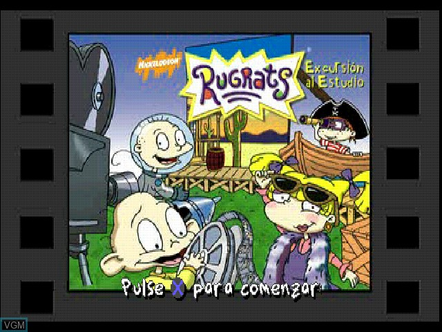 Title screen of the game Nickelodeon Rugrats - Excursion al estudio on Sony Playstation